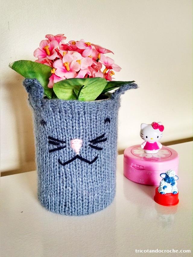 capinha de trico para lata gatinho