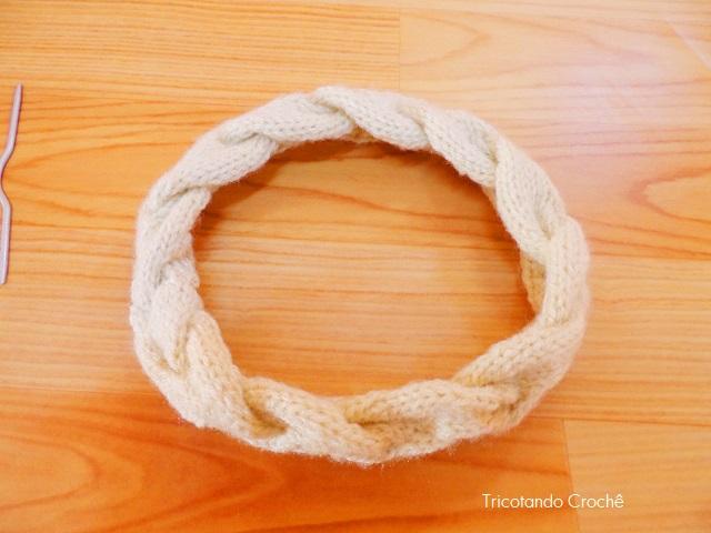 tiara de trico trançada