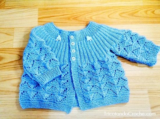 Casaquinho Ana em tricô (para menino)