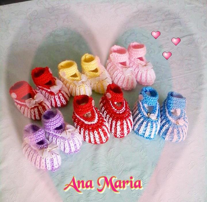 Mais sapatinhos de tricô  feitos pela Ana Maria