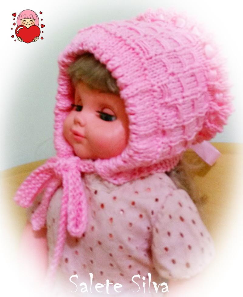 Gorro camponesa em tricô feito pela Salete
