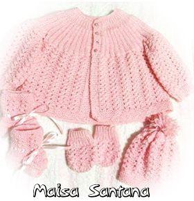 Conjuntinho de tricô para bebê lindo e fofo da Maisa Santana