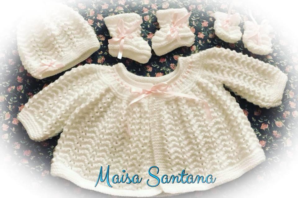 Conjuntinho de tricô, casaquinho, luvas, sapatinho e gorrinho| By Maisa Santana