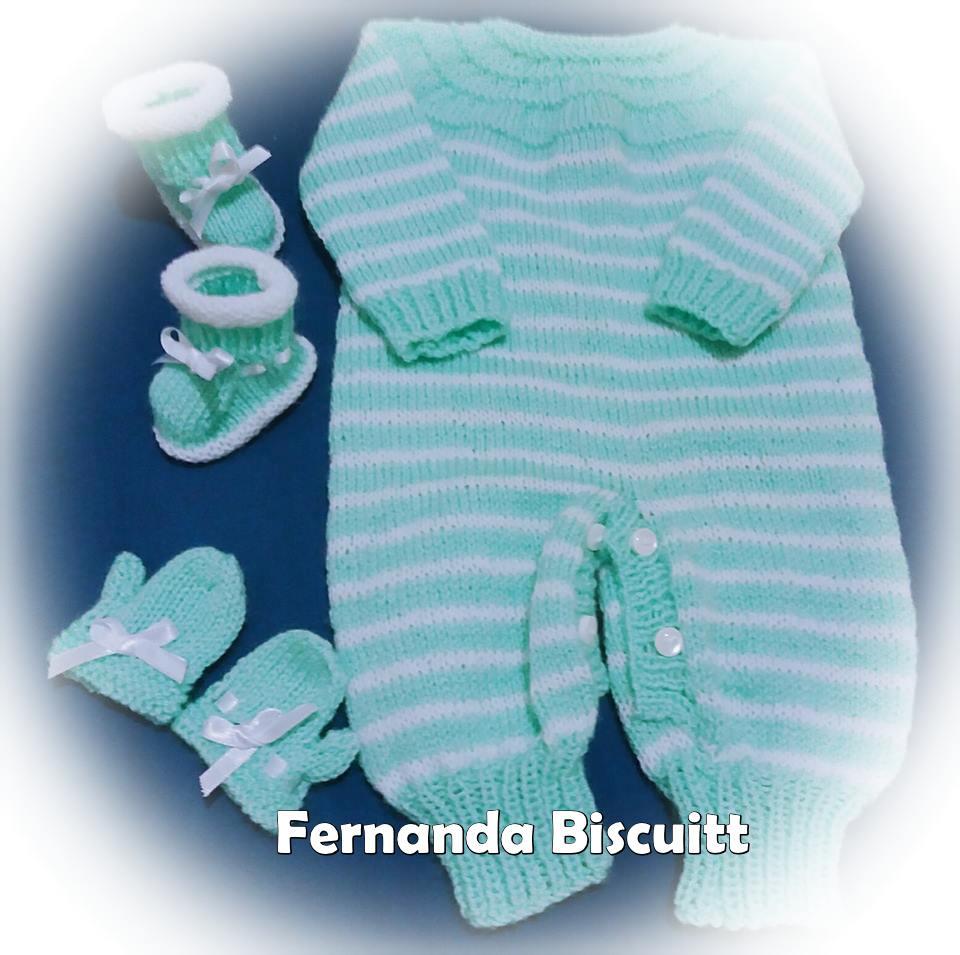 Conjunto lindo! | Tip-top, luva e sapatinho em tricô | da Fernanda Biscuitt