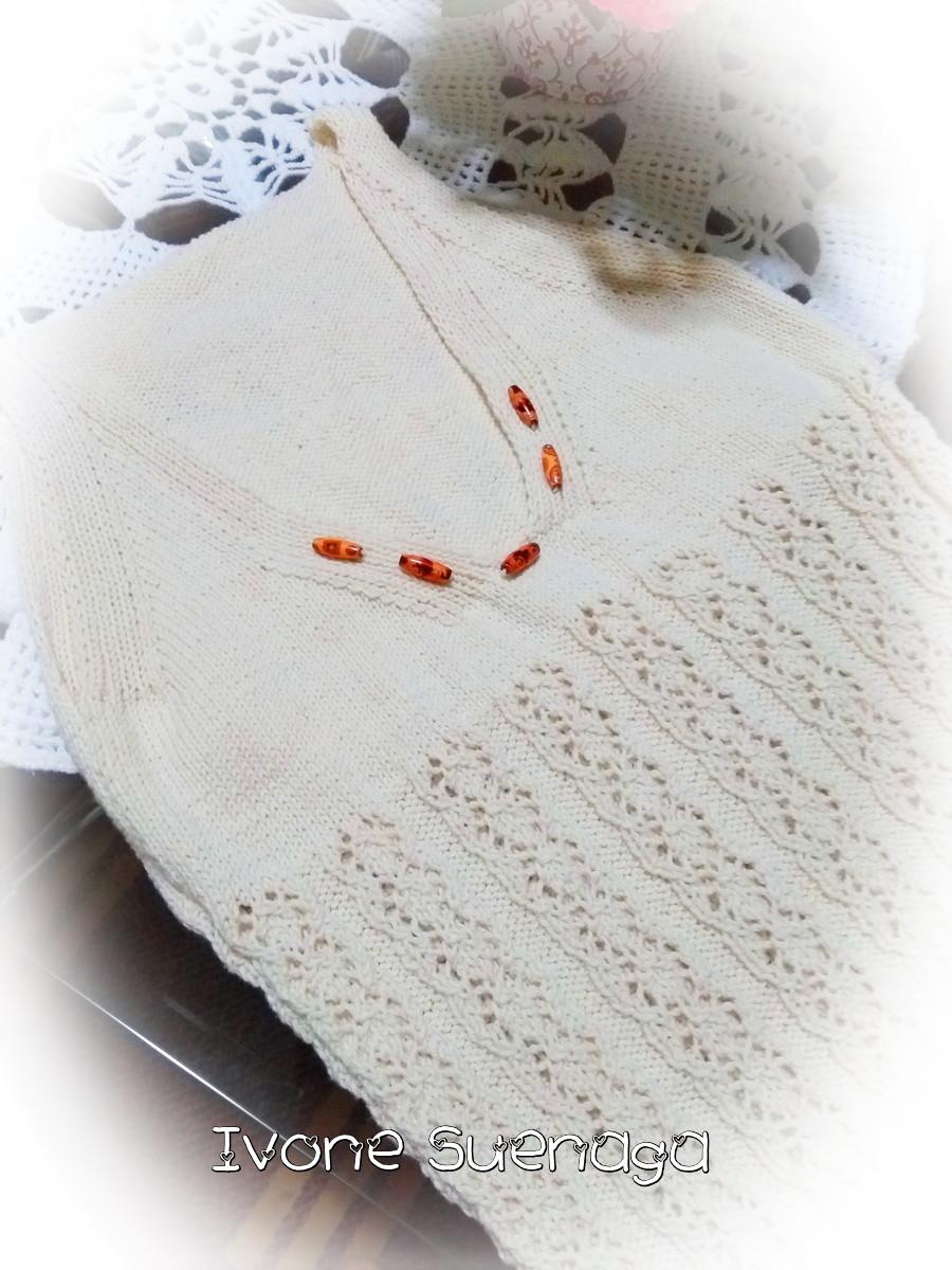 Blusa de tricô com ponto vazado e casaquinho |  Ivone Suenaga
