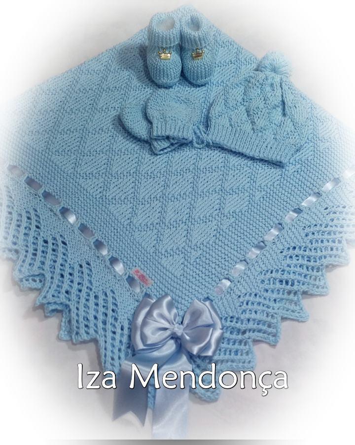 Manta de tricô com o ponto losango| By Iza Mendonça