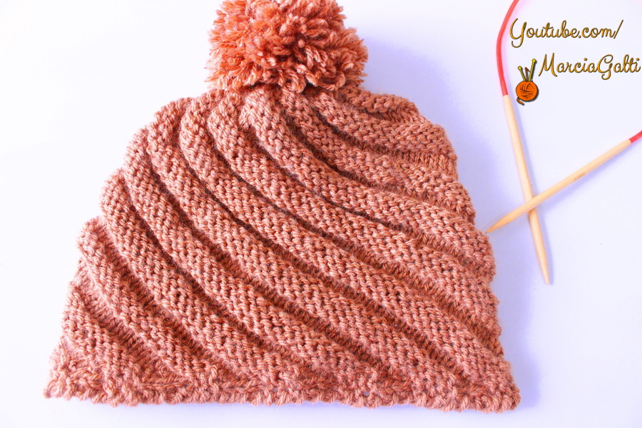 29e9f3a02a85d Gorro Espiral de tricô – Tricotando Crochê