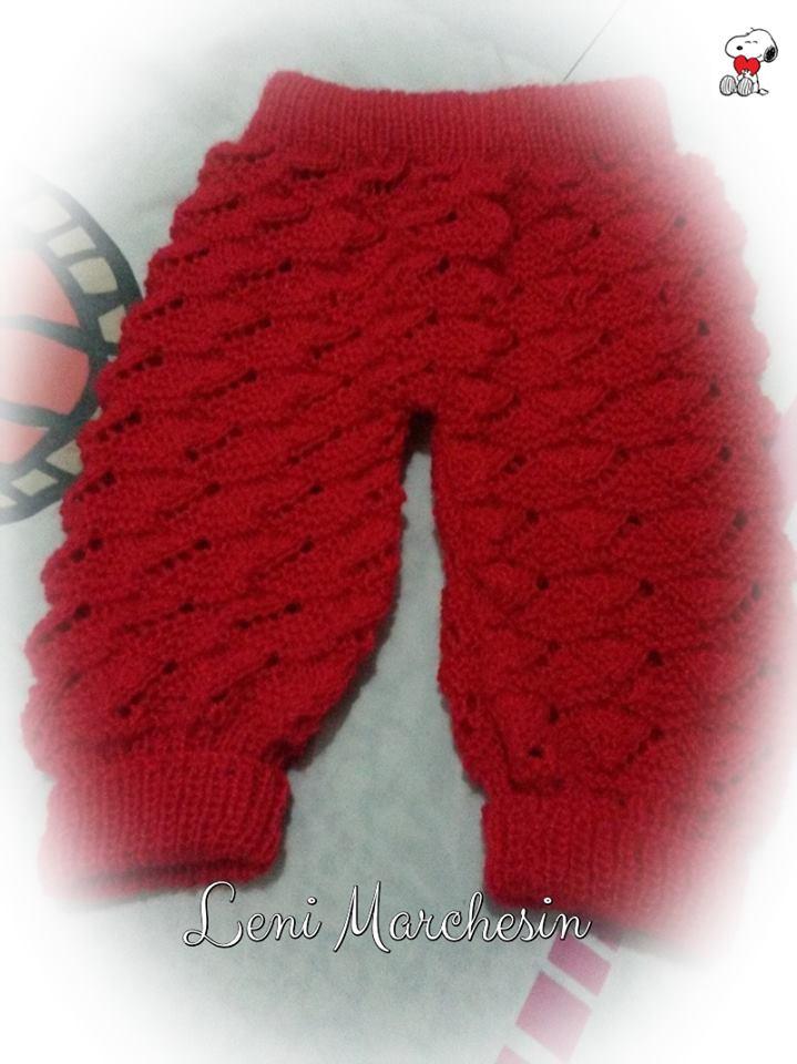 Calça de tricô para bebê | Leni Marchesin