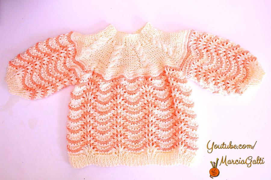 Casaquinho de tricô Listrado – 0 a 3 meses