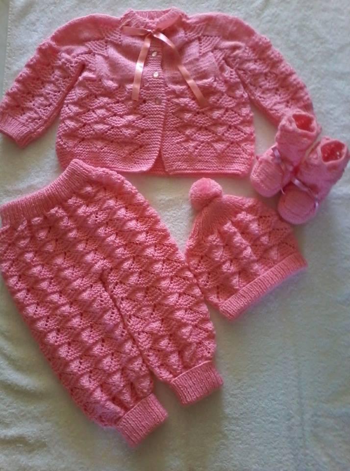 Conjunto de tricô para bebê em tricô | By Ana Maria
