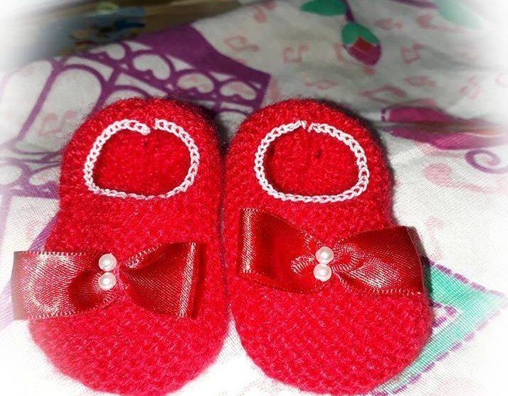 Sapatinha de bebê em tricô | Jane Adriana