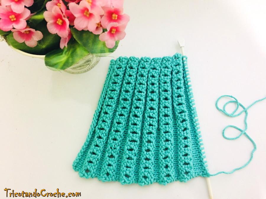 Ponto Barrado para manta | Ponto sanfonado de tricô