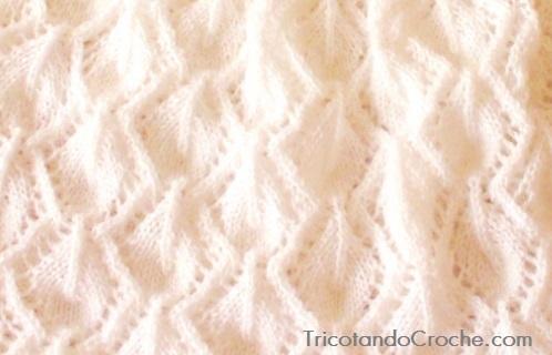 Ponto de tricô em Formato de Folhas