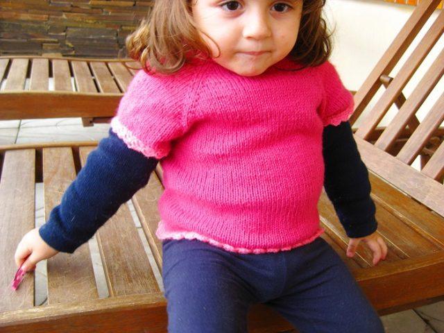 Blusa de tricô para criança de 2 anos