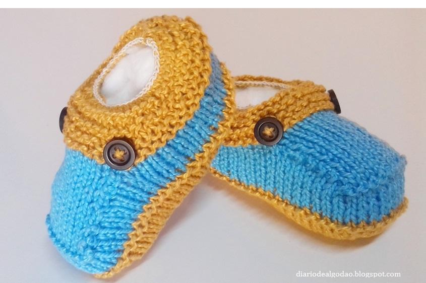 Sapatinho Bibi (sapatinho de tricô para menino)