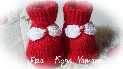 Casaquinho de tricô e sapatinho | By Elza Koga Yamane