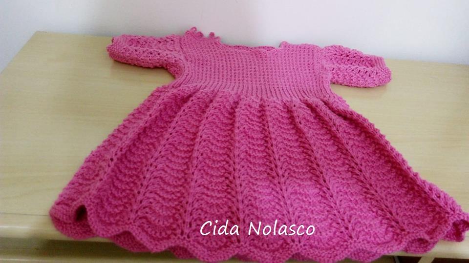 Vestido de tricô para 1 aninho   By Cida Nolasco