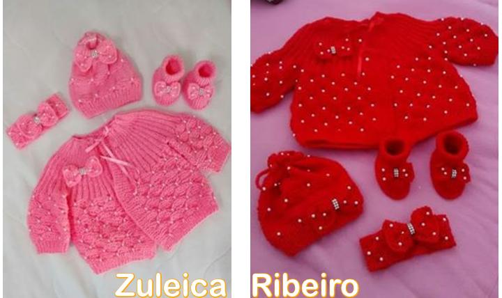 Casaquinho de tricô com pérolas feito por Zuleica Ribeiro