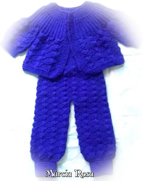 Conjunto Azul para bebê em tricô | Márcia Rosa