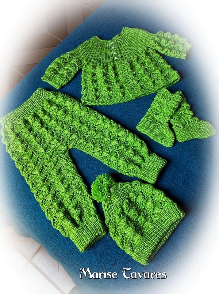Conjunto de tricô para bebê | Marise Tavares
