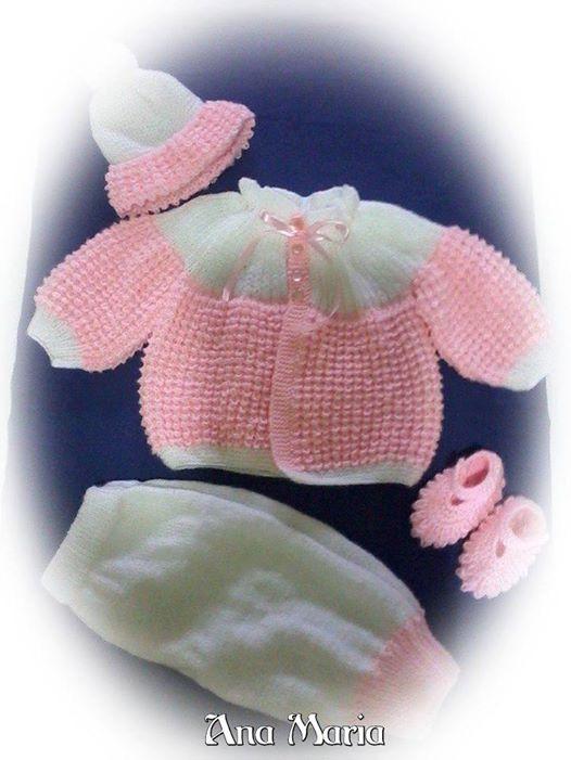 Conjunto de tricô para bebê   conjunto Croco  Ana Maria